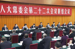 十三届全国人大常委会第二十二次会议举行联组会议