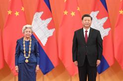 """习近平为柬埔寨太后举行中华人民共和国""""友谊勋章""""颁授仪式"""