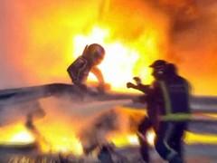 F1巴林站撞车起火